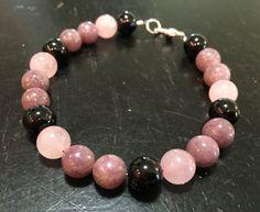 Depression, Anxiety, Self Esteem, & Stress Bracelet - Healing Crystal Bracelet - Lepidolite bracelet - Black Tourmaline - Rose Quartz Listing