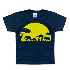 Nutees Unforgettable Walk Under African Sunset Elephant Unisex Kids T Shirts - Navy 2/3 Years Nutees