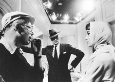 Director Billy Wilder, Gary Cooper and Audrey Hepburn on the set of Love in the Afternoon, 1957