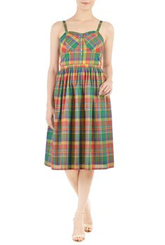 184a1a7d3f54 Colorful checks pattern our corset-top dress that is banded at the wide  empire waist