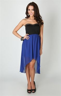 Strapless Sweetheart Bodice with Stud Trim Neck and High Low Chiffon Skirt