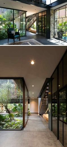 Contemporary House In Mexico Is Surrounded By Nature This modern house has a glass wall that shows off the internal courtyard from hallway.This modern house has a glass wall that shows off the internal courtyard from hallway. Future House, Internal Courtyard, Modern Courtyard, House With Courtyard, Courtyard Design, Garden Design, Courtyard Ideas, Garden Modern, Modern Patio