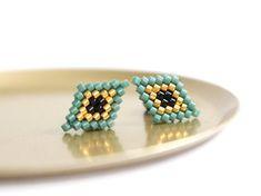 Maxi Miyuki beaded stud earrings in petrol, gold and black by averagepony Beaded Earrings Patterns, Bead Loom Patterns, Bead Earrings, Beading Patterns, Seed Bead Jewelry, Bead Jewellery, Beaded Jewelry, Brick Stitch Earrings, Beadwork Designs