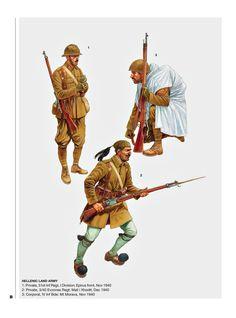 Armies of the Greek-Italian War Ww2 History, Greek History, Military History, Ww2 Uniforms, Military Uniforms, Hellenic Army, Commonwealth, Montenegro, Greek Soldier