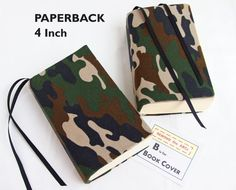 """New PAPERBACK Sizes for Stretch Book Covers in CAMOUFLAGE Fabric at SEWING the ABCs. . . $8 . . . """"Not everyone needs to see what I'm reading . . . And the attached bookmarks are really nice too."""" TRINA BEALL. SEWING the ABCs Etsy Shop Owner. More fabrics and 2 sizes."""