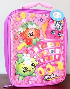 SHOPKINS Lunch Box Pink Basket Donut D'Leish Apple Blossom Strawberry NEW STYLE #Shopkins #LunchBag