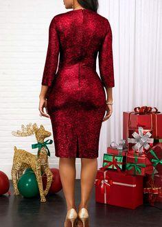 V Neck Three Quarter Sleeve Red Dress Red V Neck Dress, Red Dress Outfit, Patchwork Dress, Spring Street Style, Holiday Dresses, African Dress, Quarter Sleeve, Unique Fashion, Dresses For Sale