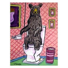 black bear in the bathroom ceramic art tile coASTER gift