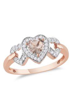 10K Rose Gold Morganite  Diamond Heart Ring