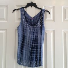 """Sugar Lips beaded top Really cute the-dyed (light to dark blue)look tank beaded design around neck and across bottom  in front. All beads and stitching in tact. Gently worn with no stains or rips. Shoulder to hem 26"""". Bust approx. 34-35 """" Sugar Lips Tops Tank Tops"""
