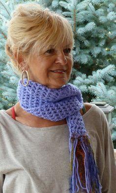 Long Crochet Purple Winter Scarf  Periwinkle by hatsbyanne1942, $35.00