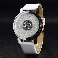 Unique Women Bracelet Watch Simple Casual Double Color Flash Dial Watch Analog PU Leather Strap Clock Business Wristwatch LL@17
