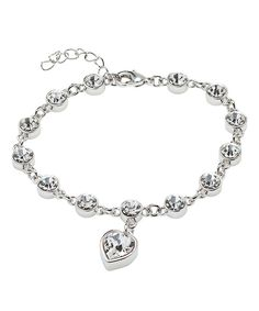 Loving this Sterling Silver Heart Charm Bracelet With Crystals From SWAROVSKI on #zulily! #zulilyfinds