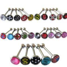 25pcs Fashion Premium Metal Tongue Rings Steel Bars Barbells Funny Nasty Wording Unique Style Logo 14G - http://weirdthingstobuy.net/25pcs-fashion-premium-metal-tongue-rings-steel-bars-barbells-funny-nasty-wording-unique-style-logo-14g