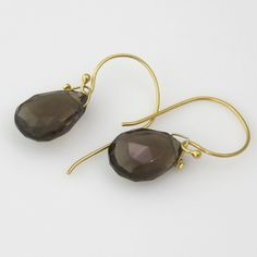 Large Smokey Quartz Briolettes Drop from Extra Large Gold Hooks for a Simple, Yet Eye Catching Earring - 1""