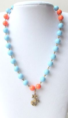 Blue and Orange Beaded Necklace with Cat Pendant - £10.00 (free p&p) #Craftfest