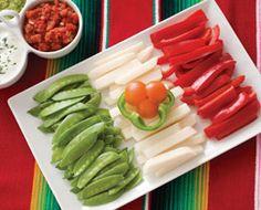 Edible Flag for Cinco de Mayo  Sugar Snap Peas  Hicama  Red Bell Pepper