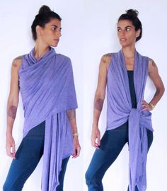 Wrap around shawl vest top. Multi - yoga clothes - dance - fitness. Plum,onesize. $44.50, via Etsy.