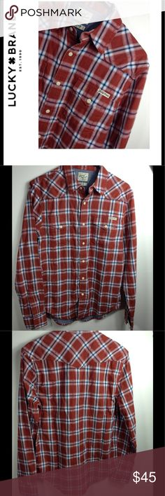 3f39216f6 Lucky Brand Long Sleeve Shirt Lucky Brand Long Sleeve Men's Button Down  Shirt, Distinctive Western Sportswear, NWT, Red / Rust Color Lucky Brand  Shirts ...