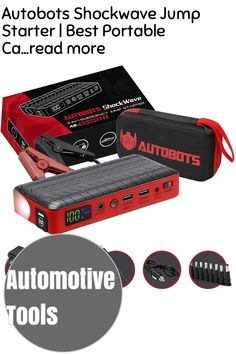 (This is an affiliate pin) Autobots Shockwave Jump Starter | Best Portable Car Battery Booster with Smart Jumper Cables | 600 Peak Amp 18000 mAh 12 V Automotive Jump Box Power Pack & Mobile Super Charger Kit Automotive Tools, Charger, Jumper, Abs, Packing, Bag Packaging, Crunches, Jumpers, Abdominal Muscles