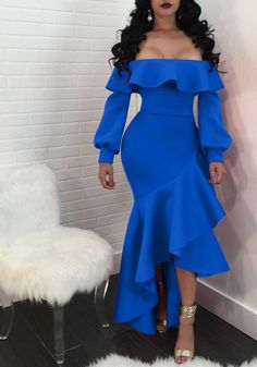 Sum All Chic, Shop Sapphire Blue Ruffle Irregular Off Shoulder Balloon Sleeve Elegant Party Maxi Dress online. Event Dresses, Prom Party Dresses, Formal Dresses, Dresses Dresses, African Traditional Dresses, Vestido Casual, Lace Romper, African Dress, Colorful Fashion