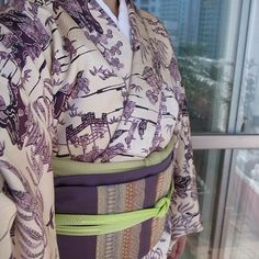 11月上旬、綸子小紋、織名古屋帯