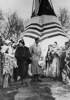 October Princess Elizabeth and Prince Philip at Calgary Exhibition and Stampede Indian Village during royal visit to Calgary, Alberta. Elizabeth Ii Young, Prince Philip Queen Elizabeth, Princess Elizabeth, Prince Phillip, Hm The Queen, Queen Mary, Defender Of The Faith, Indian Village, Canadian History