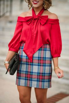 45ebc98b140 Dressed in Bows: Under $100 Bow Top + Plaid Skirt - Something Delightful  Blog