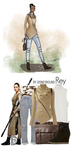 Strong with the Force, this Rey-inspired outfit was created in collaboration by DisneyBound's Leslie Kay and artist Matthew Simpson. Channel your favorite character's Star Wars style.