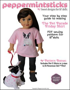 Peppermintsticks The Pet Parade Friday Shirt Doll Clothes Pattern 18 inch American Girl Dolls   Pixie Faire