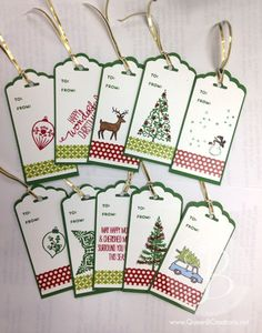 scallop tag topper Stampin Up! Christmas tags Festival of Trees, Holiday Home, Christmas Cheer and White Christmas stamp sets. - My DIY Tips Stampin Up Christmas, Christmas Paper, Handmade Christmas, Christmas Crafts, White Christmas, Diy Christmas Tags, Merry Christmas, Christmas Favors, Christmas Wrapping