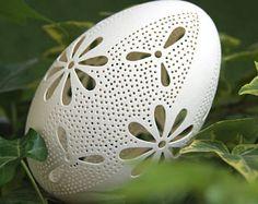 Eggshell of Polish goose - handmade sculpted #54 - transparent easter egg ornament decoration unique gift ażurowa pisanka pysanka gęsia