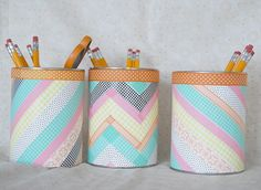 Washi Tape Containers - Creative Me Inspired You! Creative Activities, Preschool Activities, Preschool Learning, Washi Tape, Diy For Kids, Crafts For Kids, Cinta Washi, Pot A Crayon, Easy Paper Flowers