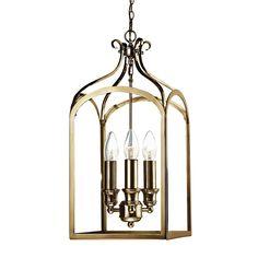 SEN0375 Senator 3 Light Lantern Pendant in Antique Brass Panelled glass…