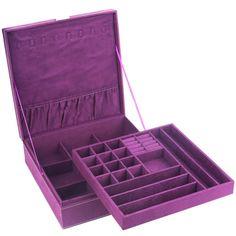 Jewelry Box Organizer Τwο Layer Soft Lint Vanity Storage Holder Lock Key, Purple #JewelryBox