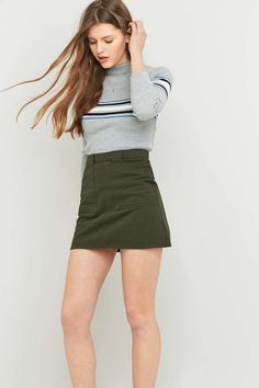 BDG Twill A-Line Utility Skirt