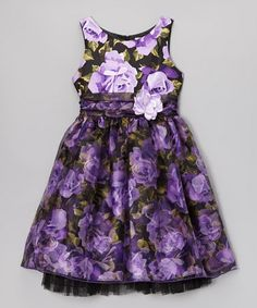 Take a look at this Purple Floral A-Line Dress - Girls by Sweet Heart Rose on #zulily today!