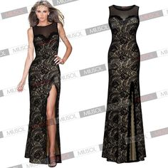 Womens Sexy Lace Mesh Split Side Long Prom Bridesmaid Evening Party Full Dresses