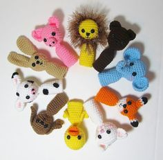 10 Amigurumi Animal Finger Puppets RESERVED by Starfall on Etsy