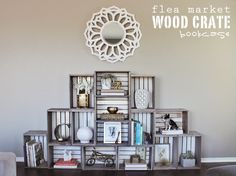 DIY wood crate bookcase by Lacquer & Linen. www.lacquerandlinen.com