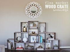Crate bookcase - cute idea {Lacquer & Linen via the Golden Sycamore}