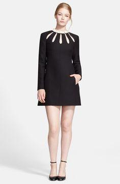 Valentino Embellished Neck Crepe A-Line Dress available at #Nordstrom