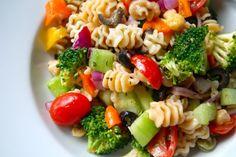 Veggie Pasta Salad with Zesty Italian Dressing. 20 mg. Sodium!!! http://thedailydish.us/salads-and-dressings/veggie-pasta-salad-with-zesty-italian-dressing/
