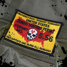 The Zombie hunting permit velcro morale patch