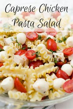 A great recipe combining my two favorite salads...Caprese and Pasta! Caprese Chicken Pasta salad will be your summer favourite!
