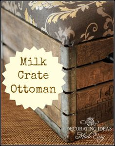 The best DIY projects & DIY ideas and tutorials: sewing, paper craft, DIY. DIY Furniture Plans & Tutorials : Check out the tutorial: Milk Crate Ottoman -Read Crate Ottoman, Ottoman Decor, Diy Ottoman, Ottoman Ideas, Ottoman Storage, Rustic Furniture, Diy Furniture, Furniture Design, Painted Furniture