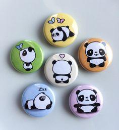 Items similar to Kawaii Cute Panda Magnets --- 1 Refrigerator / Fridge Magnet Set Magnets) on Etsy Panda Painting, Pebble Painting, Pebble Art, Stone Painting, Rock Painting Patterns, Rock Painting Designs, Canvas Patterns, Panda Lindo, Panda Craft
