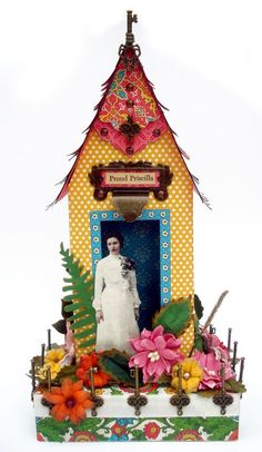 This is a brilliant altered Small Matchbook Box using Bohemian Bazaar. 'Proud Priscilla' stands in her yard looking over! Nichola created this absolutely fun creation #graphic45
