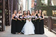 Sarah & Brian's Classic & Elegant Chicago Wedding @sklober // #DonnaMorgan bridesmaid dresses in black// Photography: Photos by Gisselle