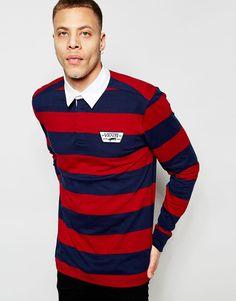 Image 1 of Vans Long Sleeve Rugby Shirt In Stripe In Blue V5SALKZ